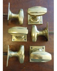Reclaimed Brass 1920's Oval Mortice Knobs - 3 Pairs