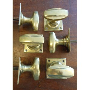 Reclaimed Brass 1920's Oval Mortice Knobs - 2 Pairs
