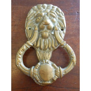 Reclaimed Brass Lion's Head Door knocker with Roundell Strike and Strike Plate