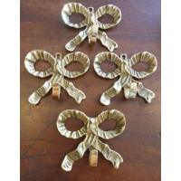 SOLD - Reclaimed Brass Bow Hooks - Set of 4