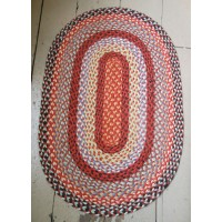 Jute Braided Oval Rug - 60 x 90 cm - Multi Coloured