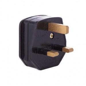 Standard Black Three Pin Plug - 3 Amp Fused