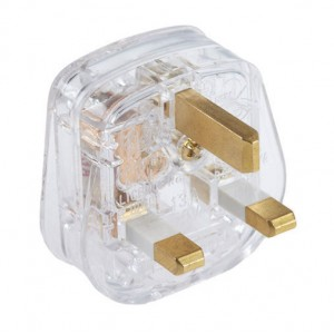 Standard Transparent Three Pin Plug - 3 Amp Fused