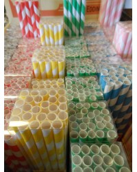 Striped Paper Straws - 6 Colours Available