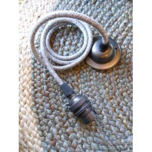 Pendant Set - Grey Linen Fabric Cable  Antique Bronze