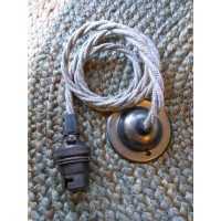 Pendant Set - Braided Grey Linen Cable - Antique Bronze - B22
