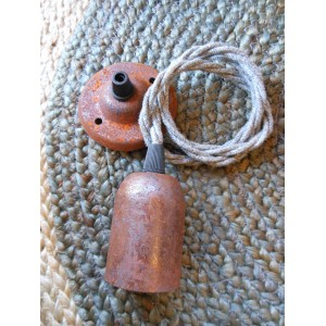 Rusted Edison Screw Pendant Set - Braided Cable