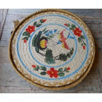Set of 6 Braided Place Mats - Delft Bird (RED FLOWER)