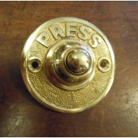 Round Brass Bell Push - PRESS