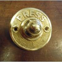 Round Brass Bell Push - PRESS