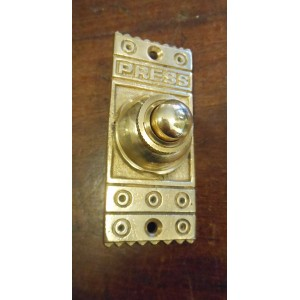 Rectangular Brass Bell Push - PRESS
