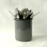 Enamel Cutlery Holder - Grey