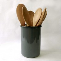 Enamel Utensil Holder - Grey