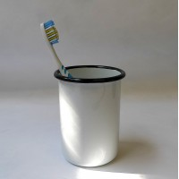 Enamel Toothbrush Holder - White