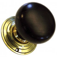 Bun Door Knob - Extra Large - Ebonised Wood - Brass Collar & Rose - Mortice & Rim