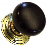 Bun Door Knob - Extra Large - Ebonised Wood - Brass Collar & Rose - Mortice & Rim