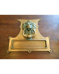 Brass Lion's Head Letterplate with Knocker - SOLD