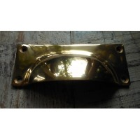 Drawer Pull - Cast Brass - Square Backplate - 100 mm