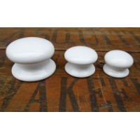 Plain Ceramic Cupboard Knobs - White - 50mm Large