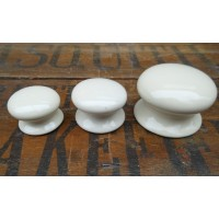 Plain Ceramic Cupboard Knobs - Cream - 32mm Small