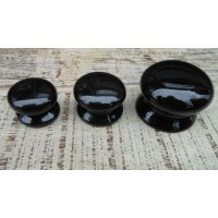 Plain Ceramic Cupboard Knobs - Black - 38mm Medium