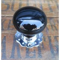 Ceramic Door Knob - Black - Chrome Collar & Fluted Rose - Mortice & Rim