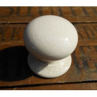 Ceramic Door Knob - Cream Crackle Glaze - Mortice & Rim