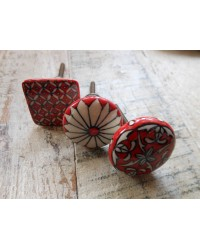 Jovita Red - Fair Trade Ceramic Cupboard Knob -  3 Styles