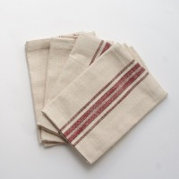 Marmot Napkins - Pack of 4 - Natural With Red Stripe