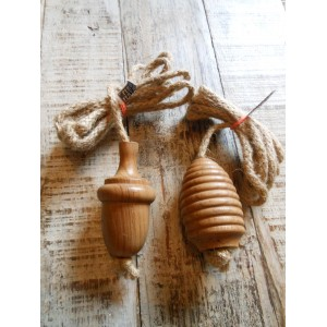 Solid Oak Light Pull with Jute Cord - Acorn or Beehive
