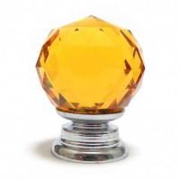 Faceted Cut Glass Cupboard knob - Amber