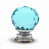 Faceted Cut Glass Cupboard knob - Blue