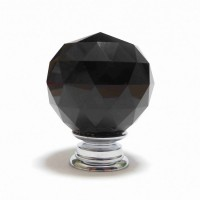 Faceted Cut Glass Cupboard knob – Black