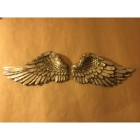 Cast Resin Angel Wings - Antique Silver Pair