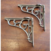 "Cast Iron Shelf Brackets - Floral Scroll - 3.5"" x 4 """