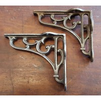 "Cast Iron Shelf Brackets - Floral Scroll - 5"" x 5"""