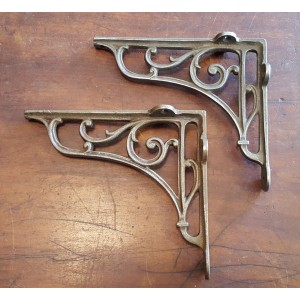 "Cast Iron Shelf Brackets - Floral Scroll - 6 3/4"" x 7 3/4"""