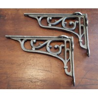 "Cast Iron Shelf Brackets - Floral Scroll - 6"" x 9"""