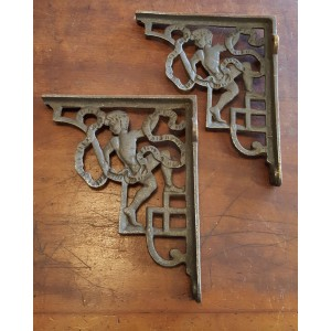 "Cast Iron Cherub Brackets - 9 1/2"" x 8"""