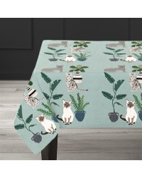 """Cats"" Table cloth - Hand printed - Design by Anne Bentley - 1.5 m x 2.2 m"