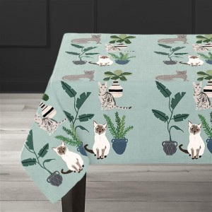 Cats Table cloth - Hand printed - Design by Anne Bentley - 1.5 m x 2.2 m