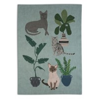 Cats Tea Towel - Hand printed - Design by Anne Bentley