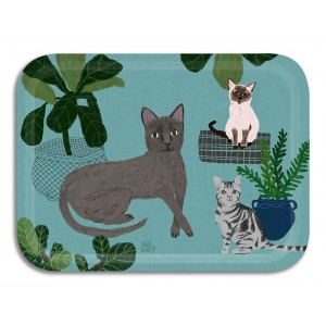 Cats Tray - Birchwood Small - Design by Anne Bentley