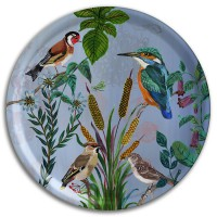 Kingfisher Tray - Circular Birchwood - Design by Nathalie Lété.