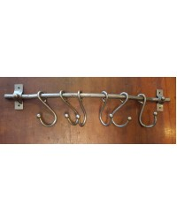 Hook Rail with 6 x 'S' Hooks - Pewter Finish