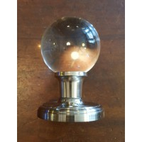 Round Glass Door Knob - Chrome Collar & Rose - Sprung Mortice