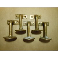 SOLD - Solid Brass Reclaimed Hand Rail Brackets - Set of 5
