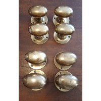 Reclaimed Oval Aged Patina - Mortice Door Knobs - 4 Pairs - Solid Brass
