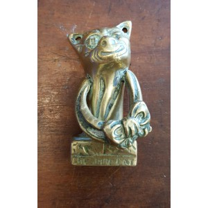 Reclaimed Small (Bedroom) Door Knocker - Cheshire Cat - Brass