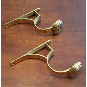 Cast Brass Curtain Pole Holder - Large - Pair